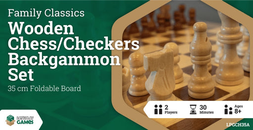 Wooden Folding Chess/Checkers/Backgammon Set 35cm