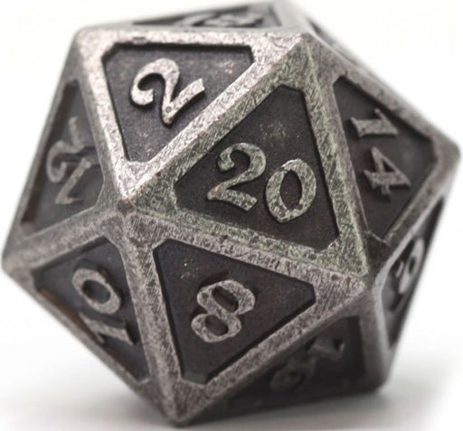 D20 Dire Die Hard Dice - Mythica Dark Silver (Single)