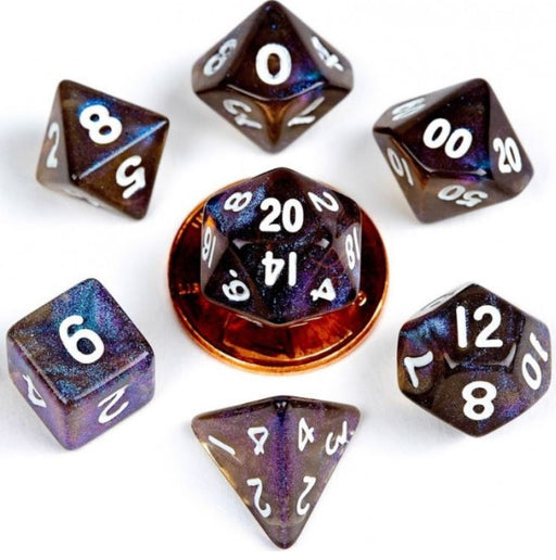 MDG Acrylic 10mm Polyhedral Dice Set - Stardust Galaxy