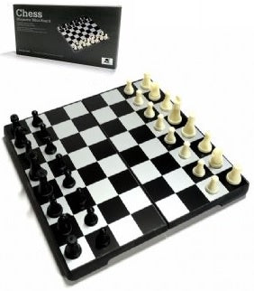 Chess Set - Magnetic Mini-Board Black & White 16.5cm