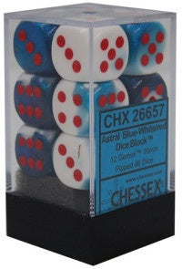 D6 Dice Gemini 16mm Astral Blue-White/Red CHX26657