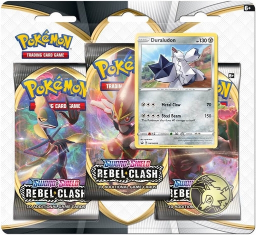 Pokémon TCG Sword and Shield Rebel Clash Three Booster Blister
