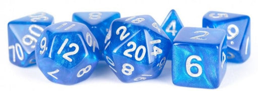 MDG Acrylic 16mm Polyhedral Dice Set - Stardust Blue
