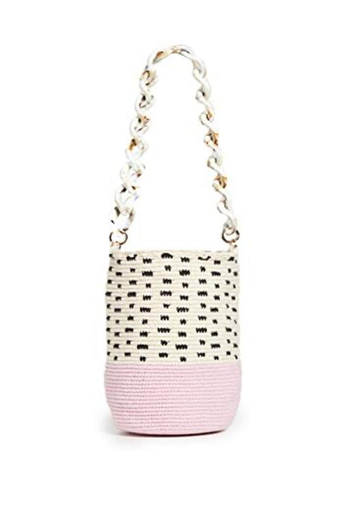 Black & White Polka Dot Bag With Pink Bottom