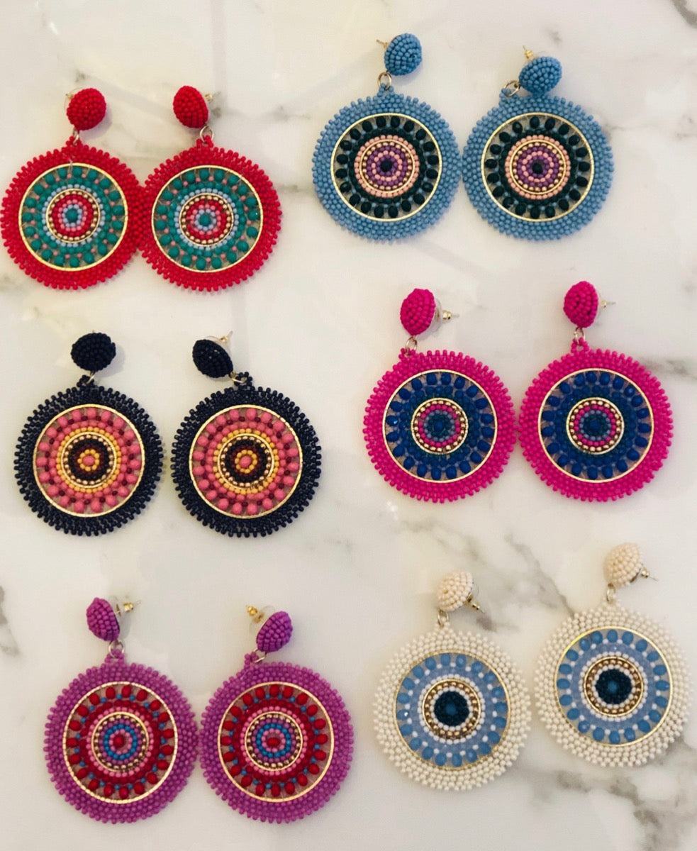 Positano Beaded Disc Earrings