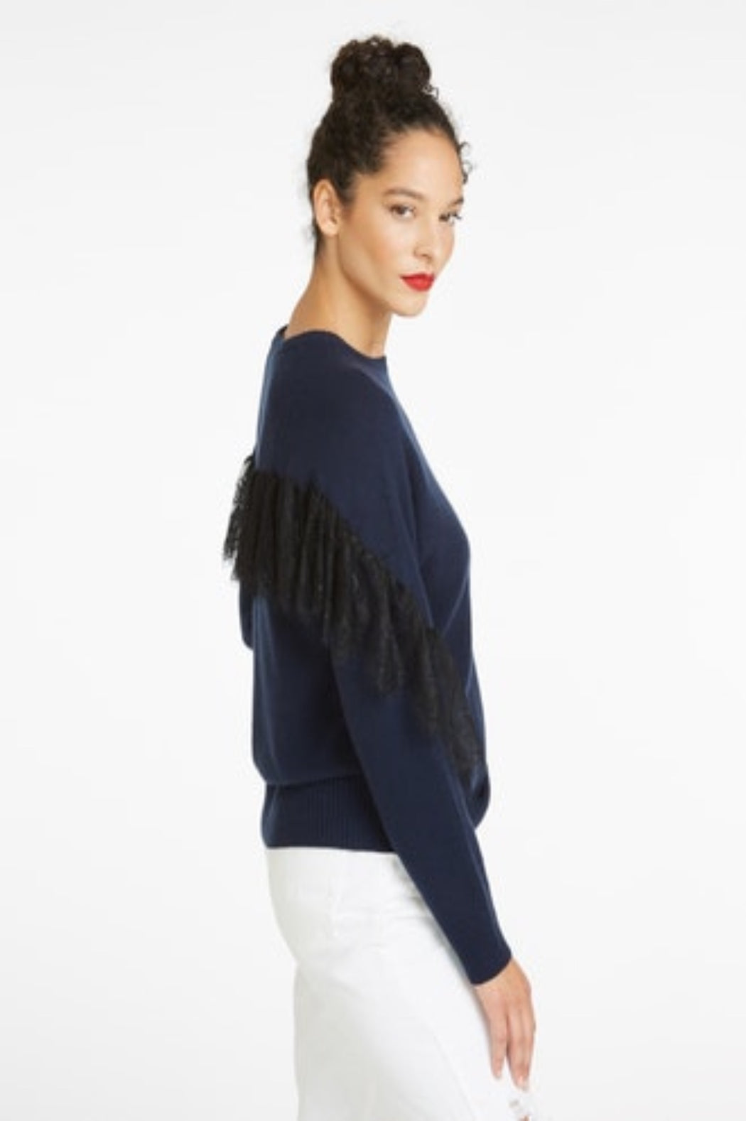 Lace Trimmed Raglan Crew ~ Navy
