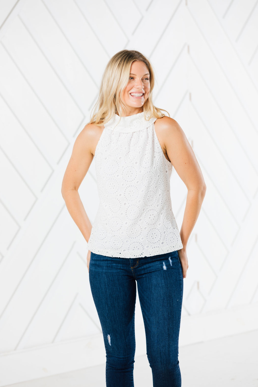 Cowl Neck Top ~ White Eyelet