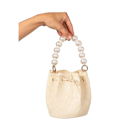 Bucket Bag With Pearl Handle ~ Natural