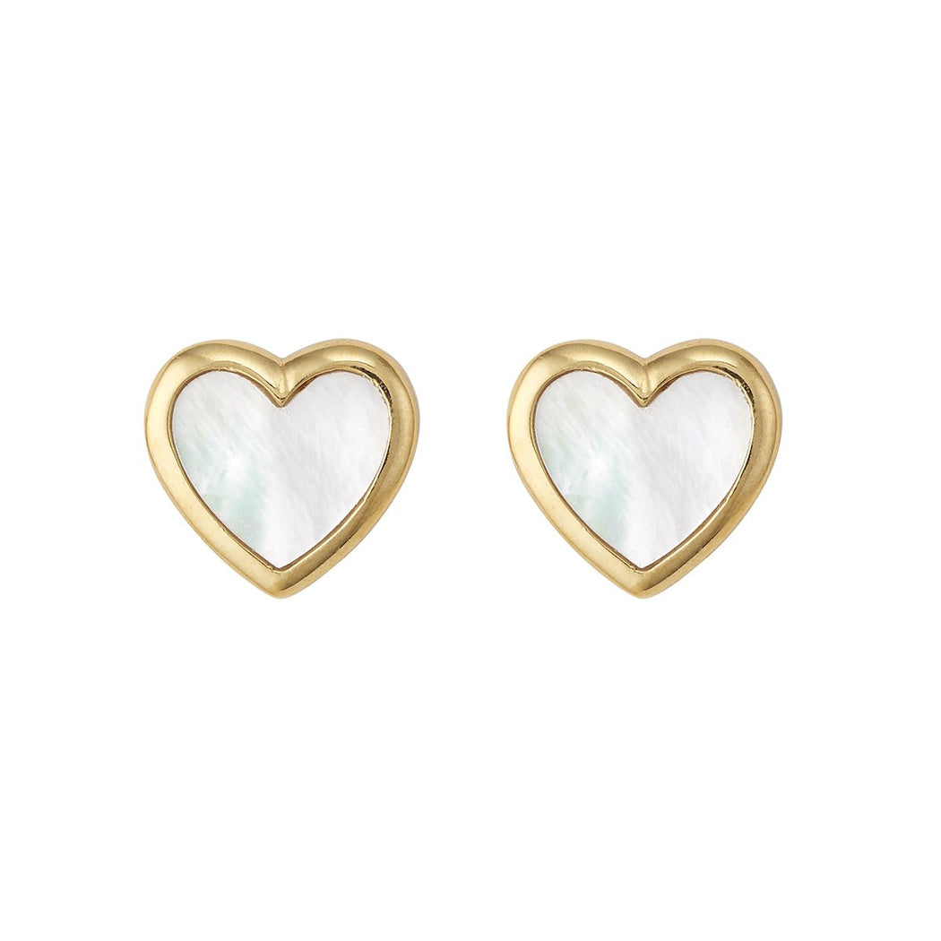 Heart Studs ~ Mother Of Pearl