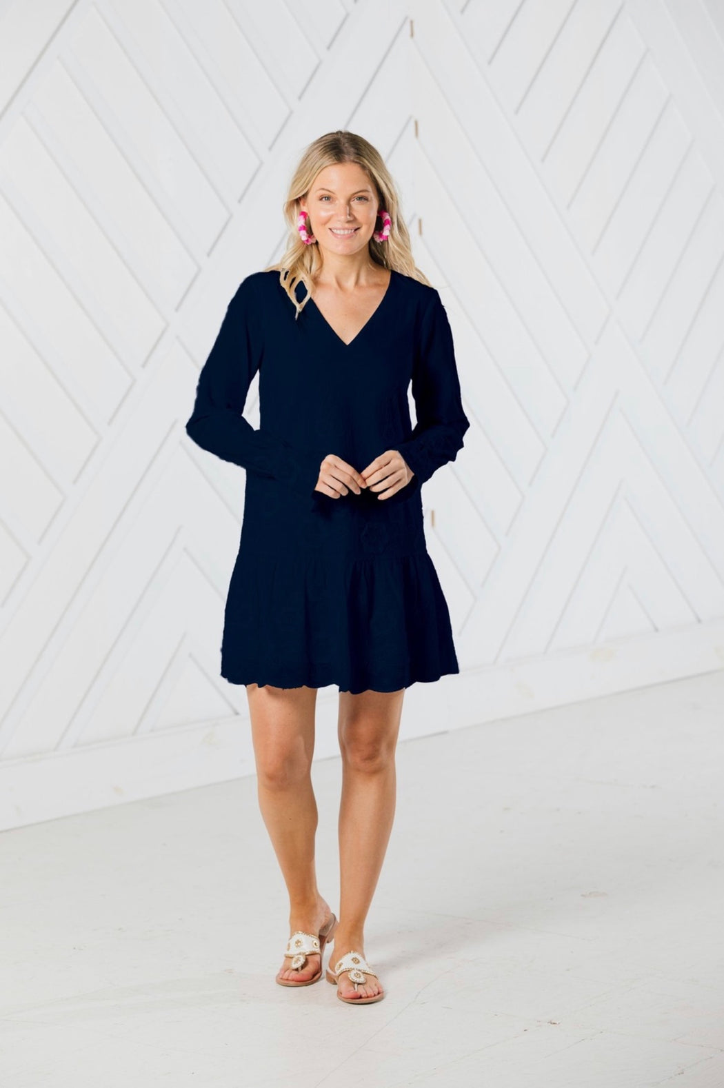 Embroidered Long Sleeve Dress With Flutter Hem ~ Navy