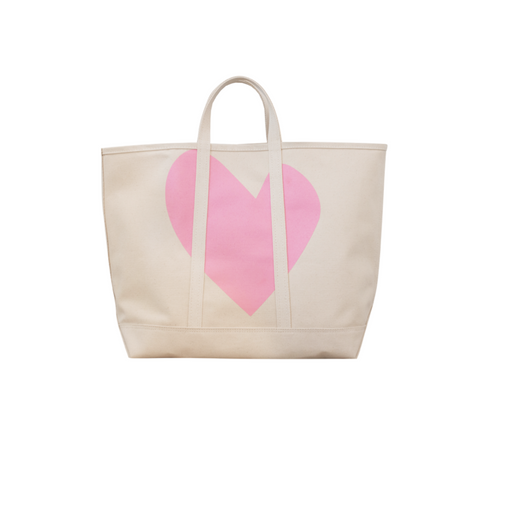 Canvas Beach Tote ~ Pink Heart