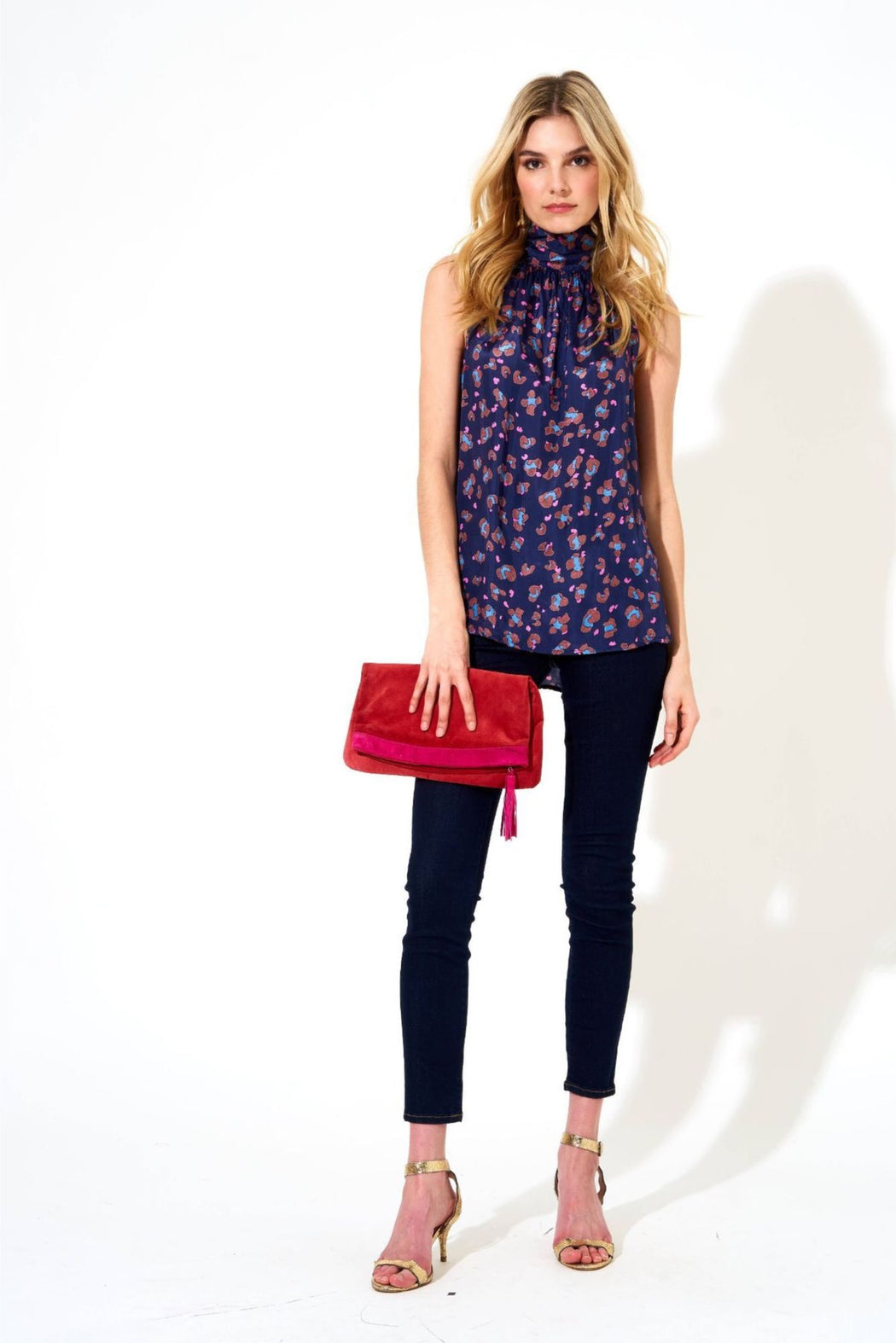 Sleeveless Tie Neck Top ~ Leopard Navy