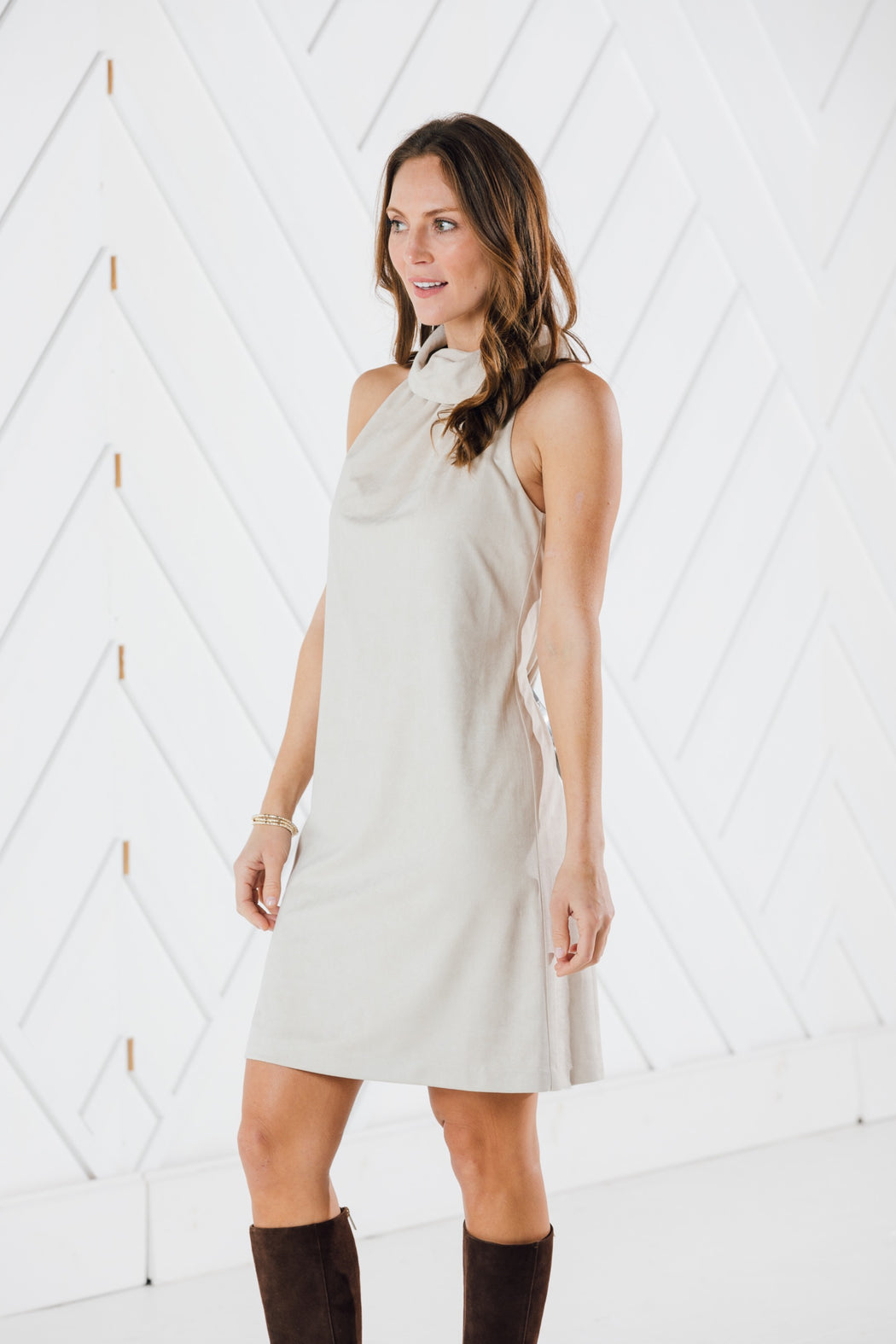 Cowl Neck Dress ~ Camel