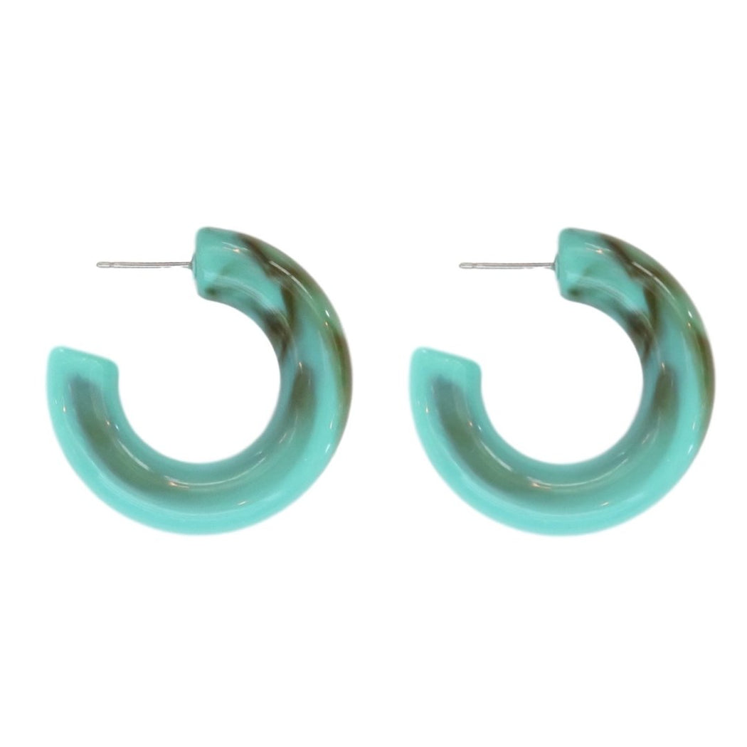 Turquoise Lucite Hoop Earrings