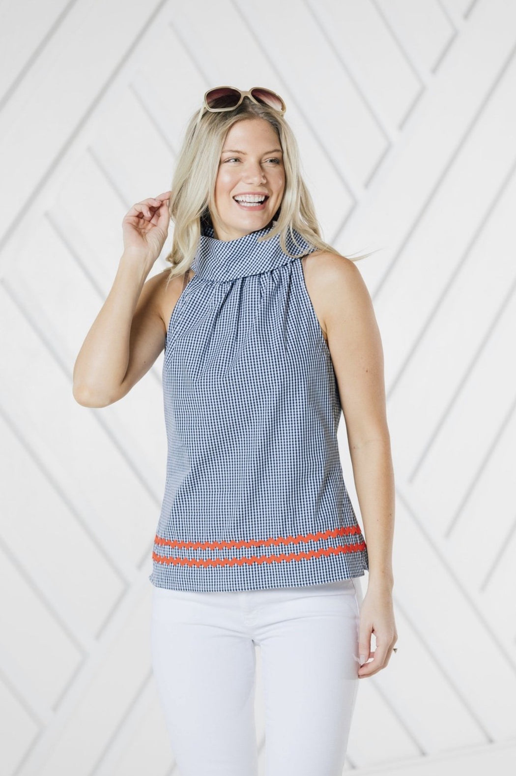 Cowl Neck Top ~ Navy Gingham