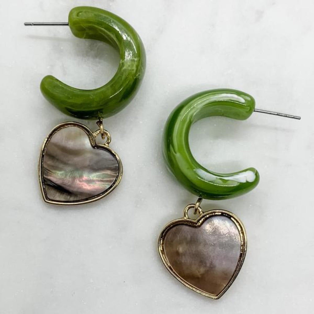 Resin Hoop With Heart Drop ~ Green