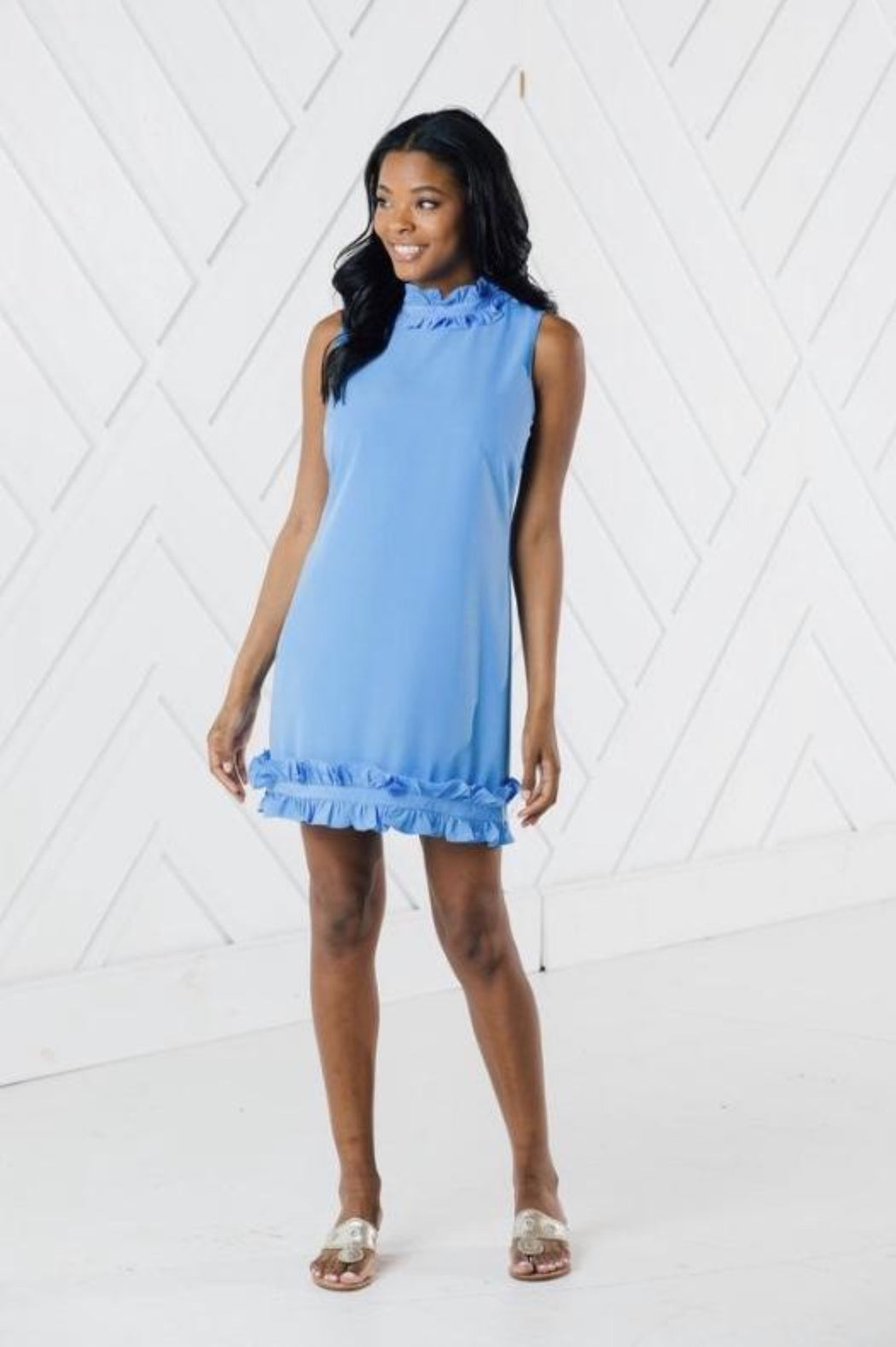 Sleeveless Double Ruffle Dress ~ Marina
