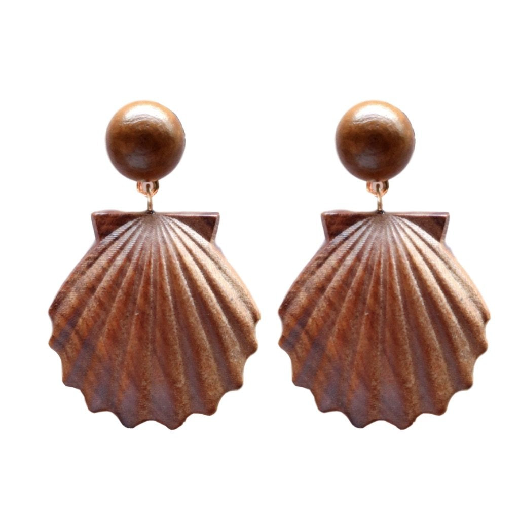 Wooden Shell Earrings