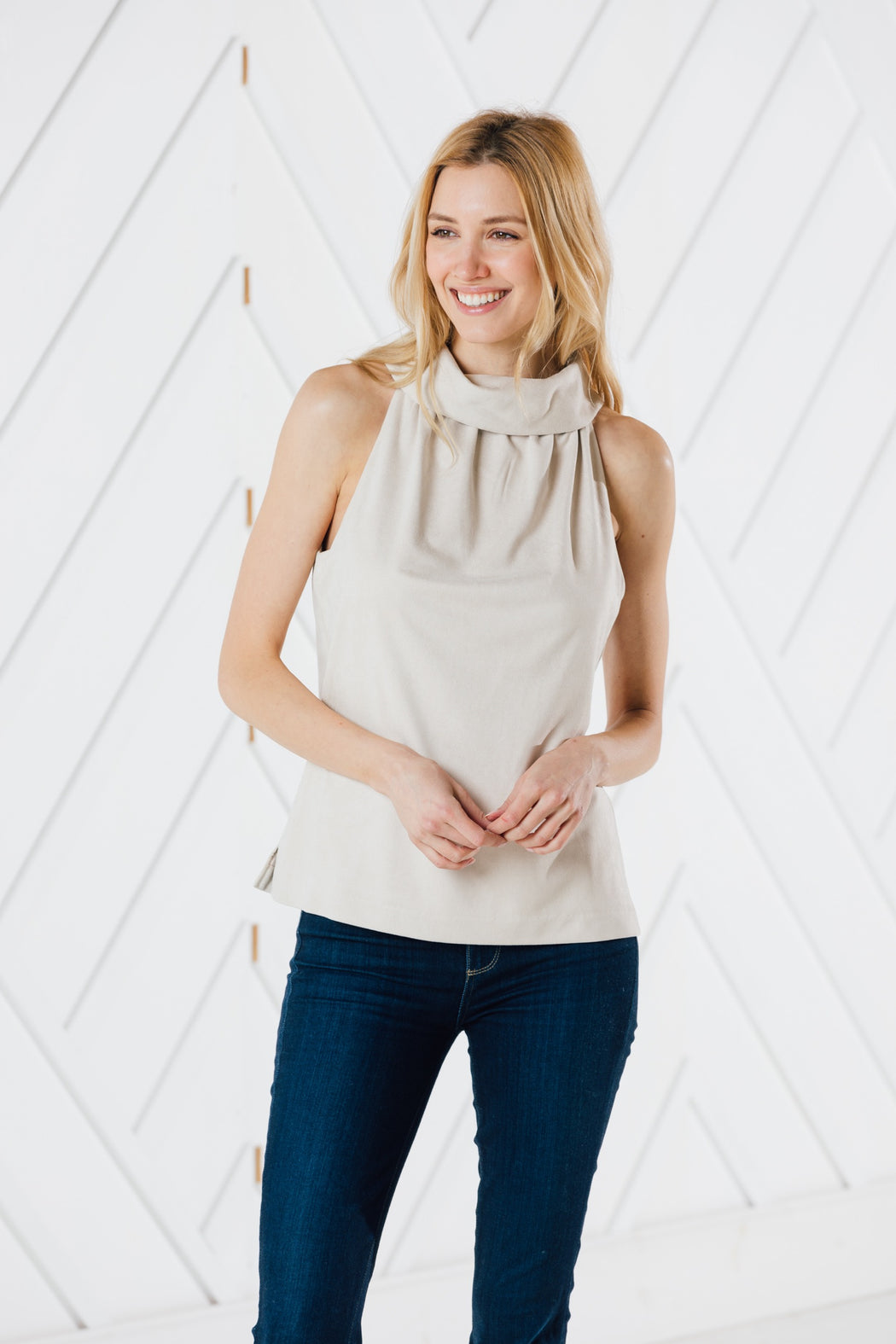 Faux Suede Cowl Neck Top ~ Camel