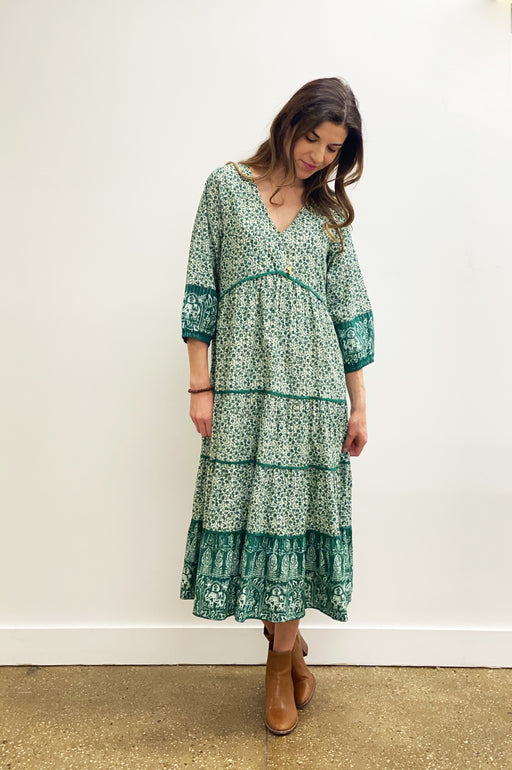 Imogyn Dress ~ Green Mixed Floral Block Print