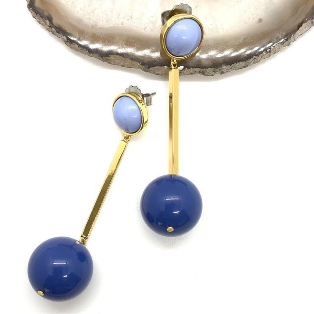 Circle & Stick Earrings ~ Blue