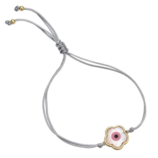 Pink Flower Evil Eye Bracelet ~ Grey Cord