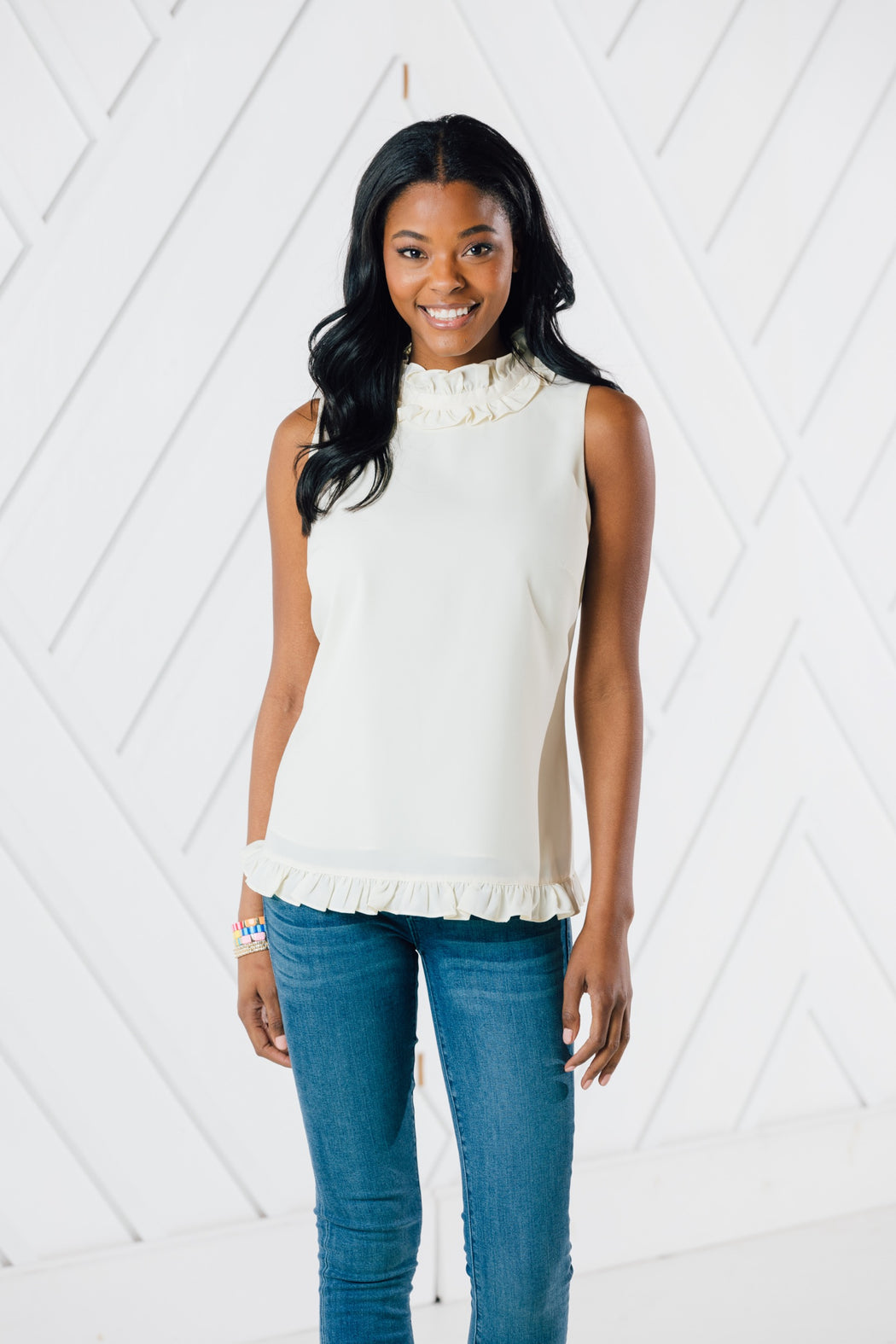 Double Ruffle Top ~ Ivory