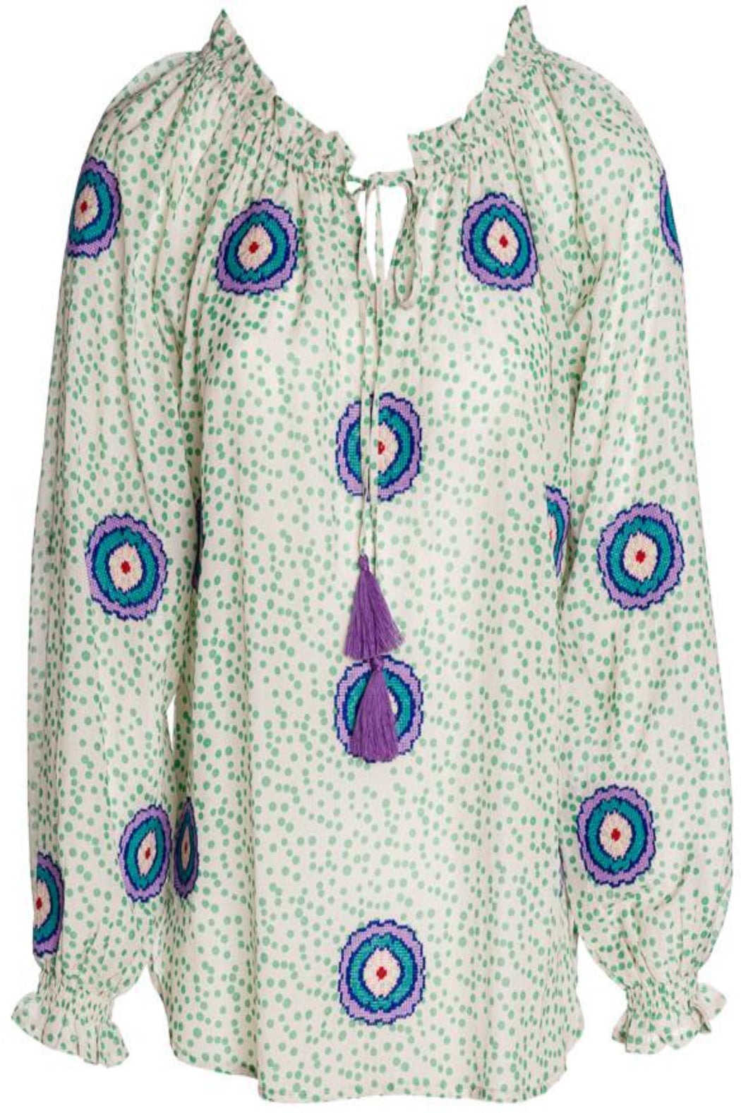 Emerald Tunic ~ Green Dots/Mexican Flower
