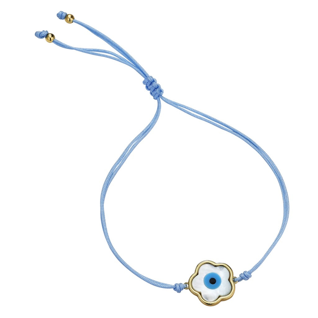 Blue Flower Evil Eye Bracelet ~ Blue Cord