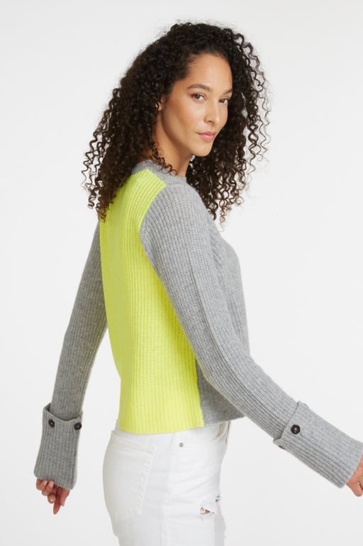 Colorblock Shaker Sweater ~ Grey/Volt