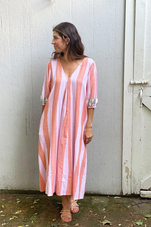 Emmerson Dress ~ Amber Glow/Pink Lady Stripe