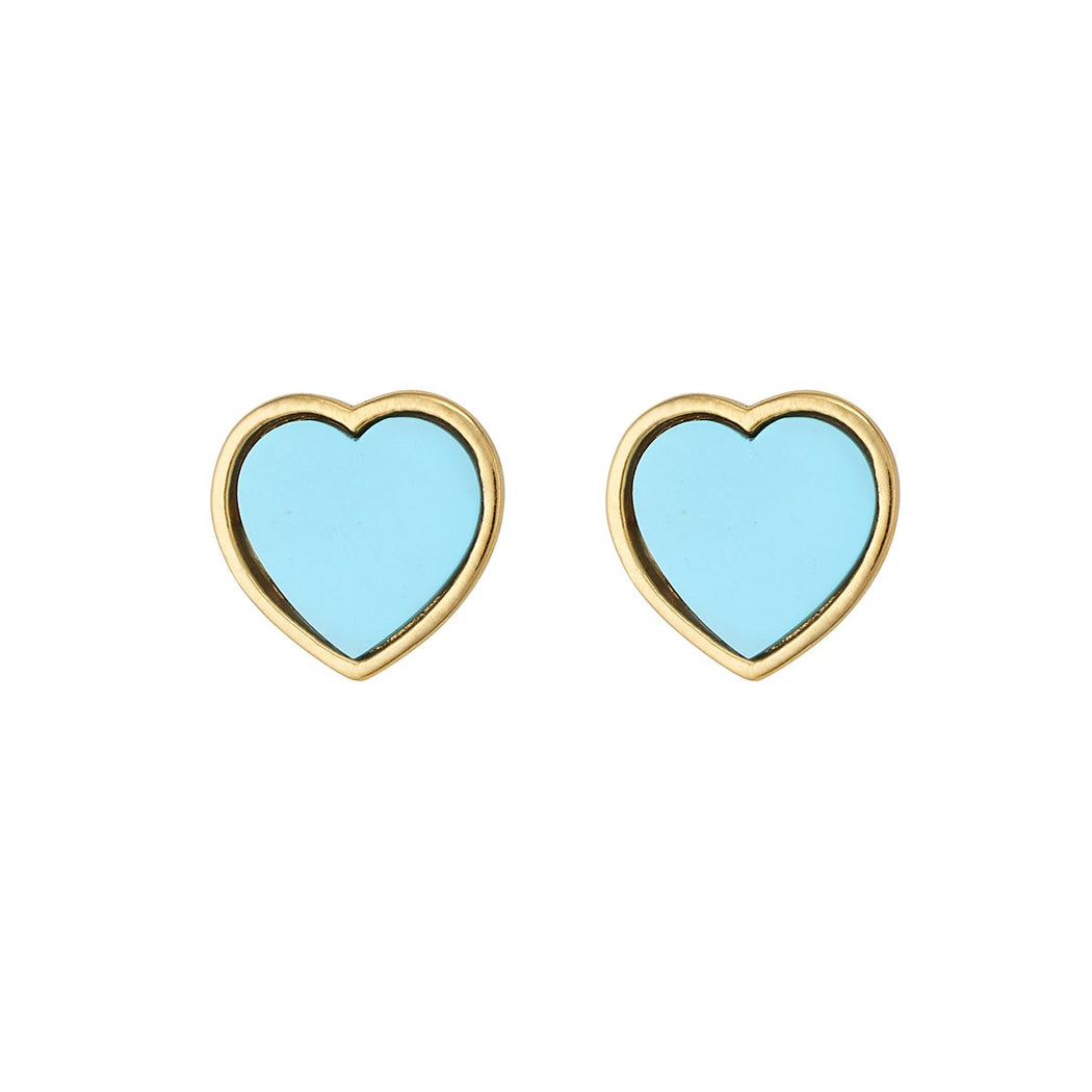 Heart Studs ~ Turquoise