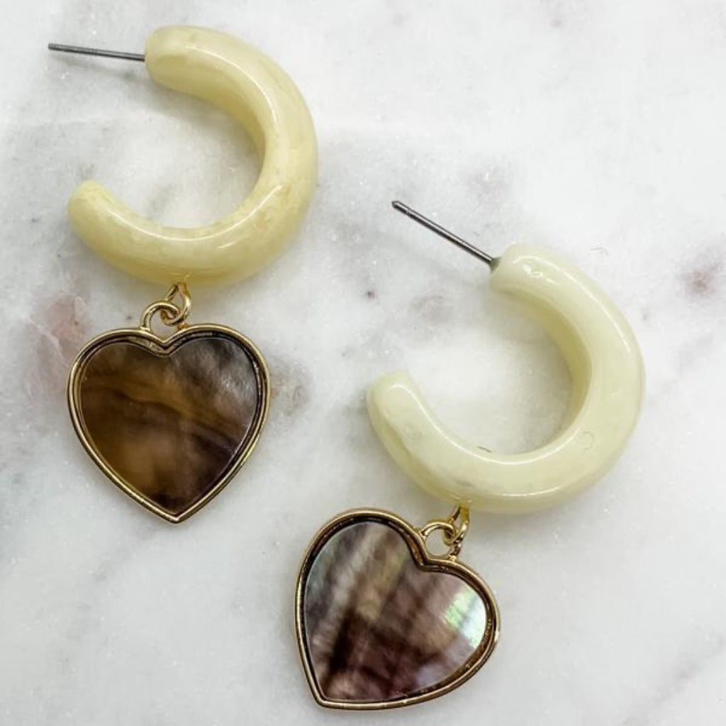 Resin Hoop With Heart Drop ~ Ivory