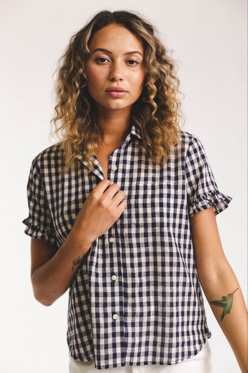 Tessa Shirt ~ Navy & White Gingham
