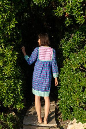 Jaipur Dress ~ Blue, Hot Pink, Mint Green