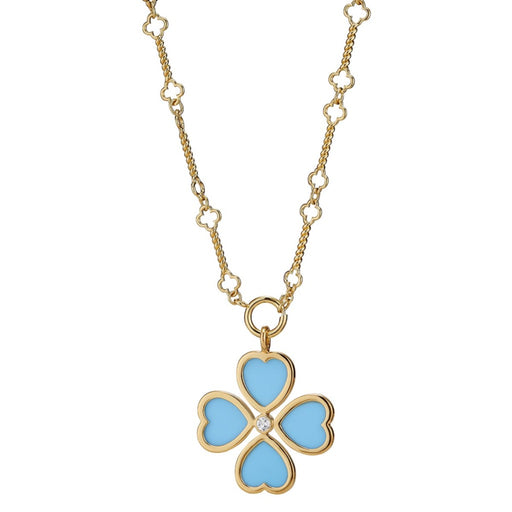 Clover Heart Charm ~ Turquoise