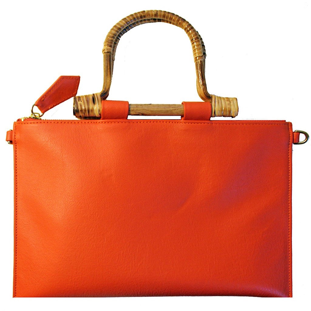 Bamboo Clutch & Crossbody ~ Orange