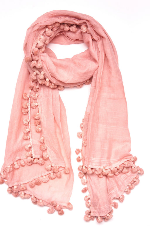 Silk Cotton Tassel Scarf ~ Blush