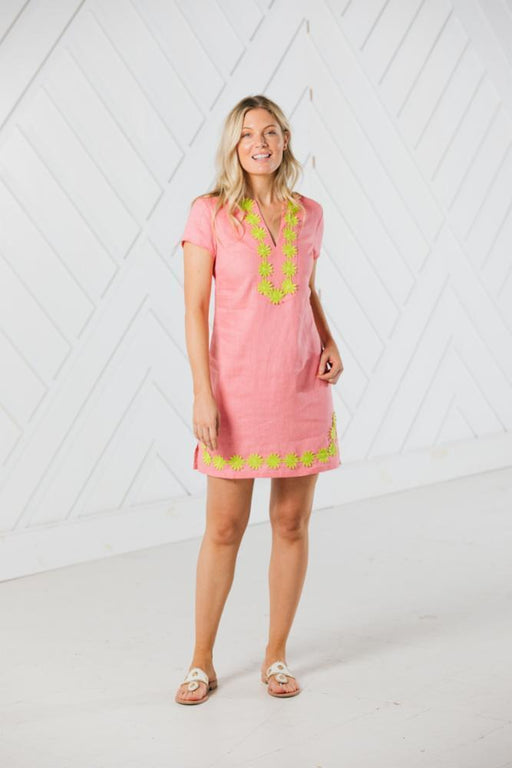 Short Sleeve Classic Tunic Dress ~ Coral
