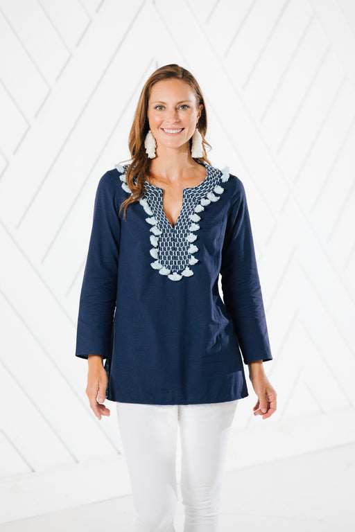 Tassel Tunic Top ~ Navy