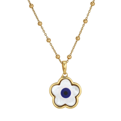 Navy Flower Evil Eye Charm