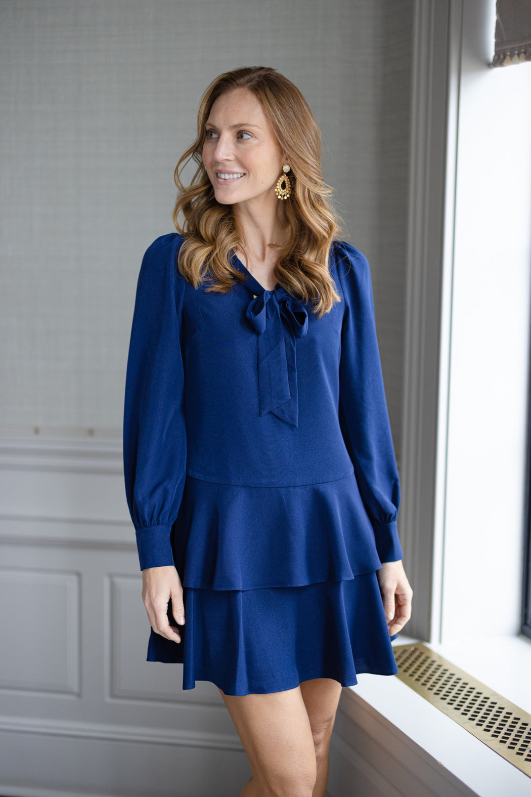 Navy Long Sleeve Ruffle Hem Dress