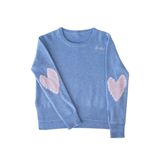 Patchwork Love Cashmere Sweater ~ Denim & Lavender