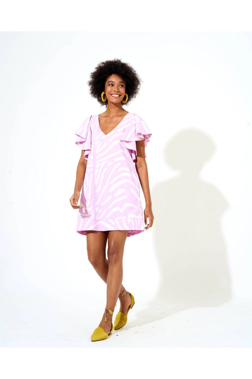 Flirty V Neck Dress ~ Zebra Lilac