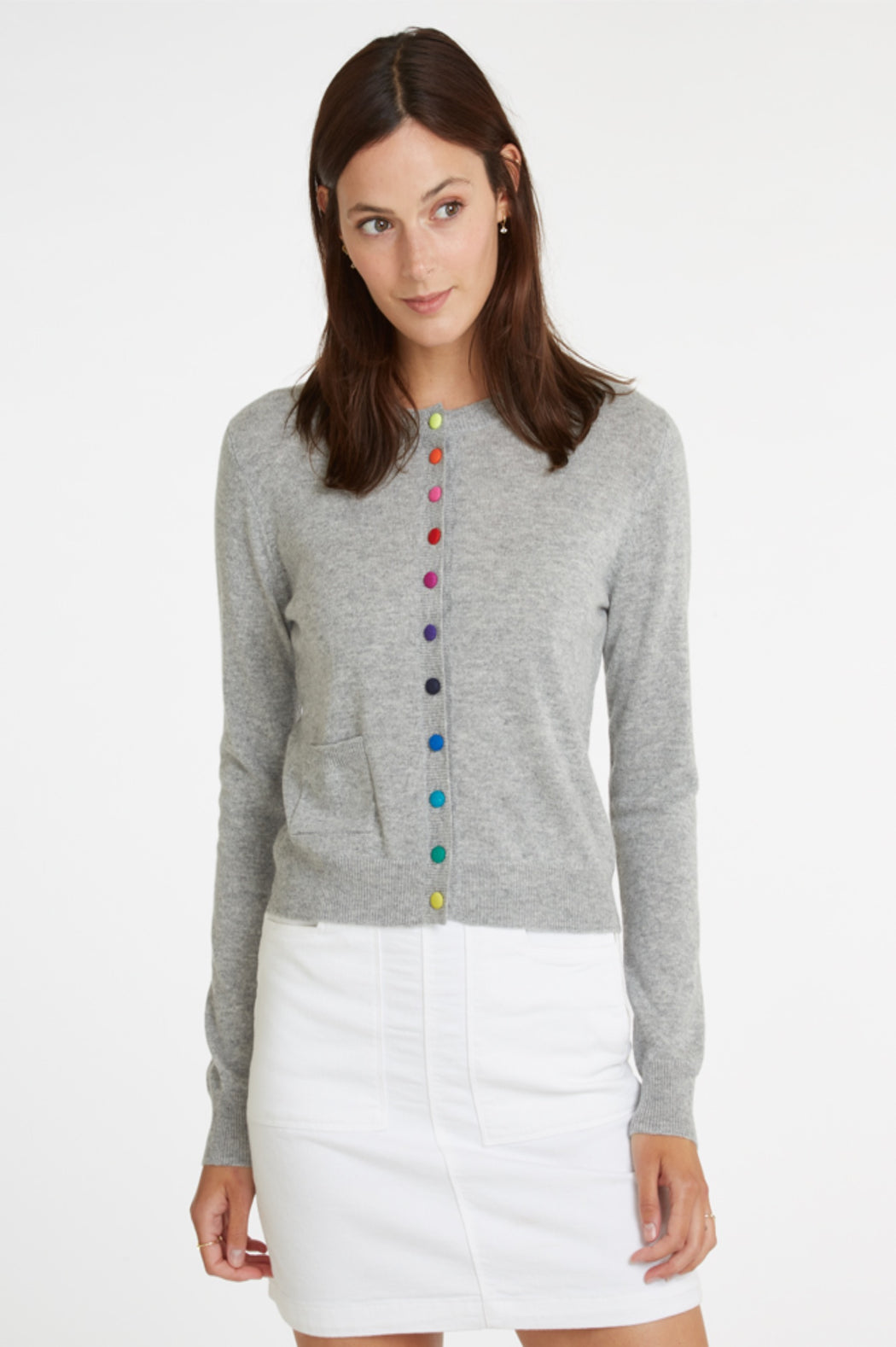 Cardigan With Multicolor Buttons ~ Grey