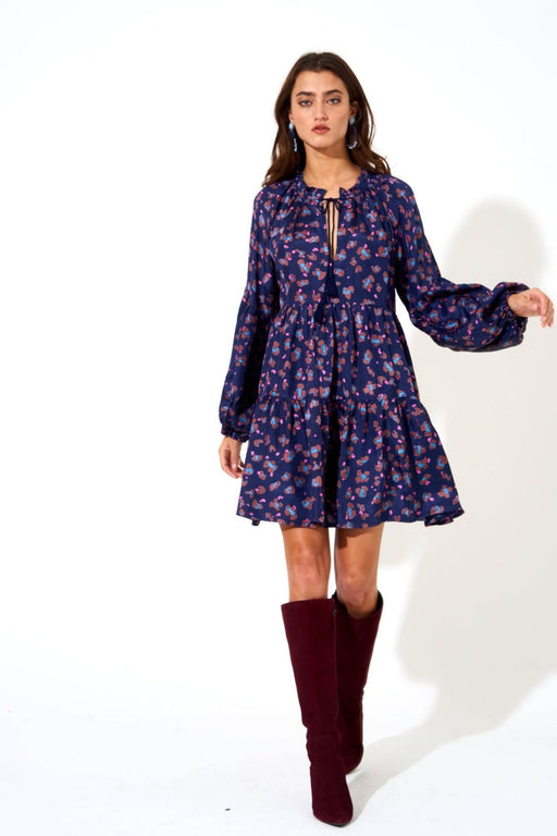 Balloon Sleeve Dress ~ Navy Leopard