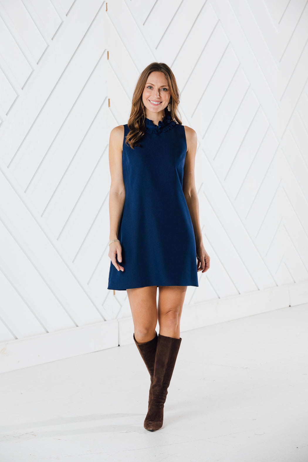 Ruffle Neck Dress ~ Navy