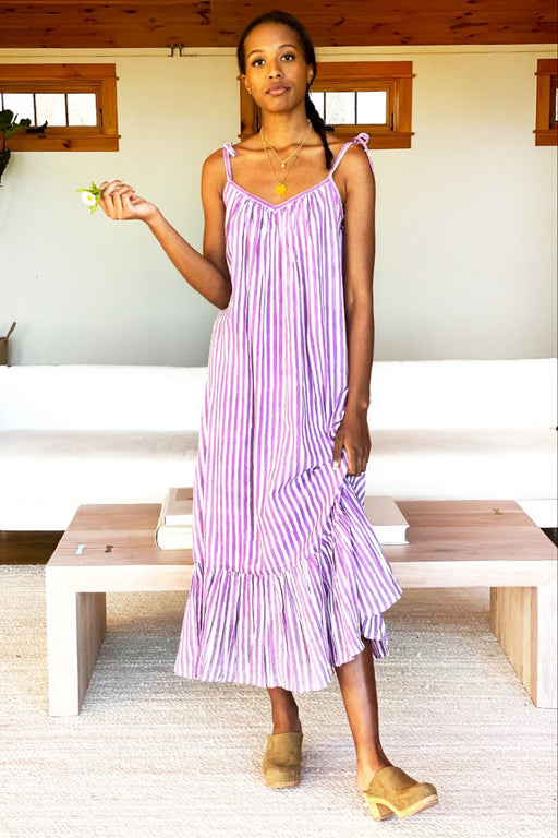 India Sundress ~ Lavendula Stripe