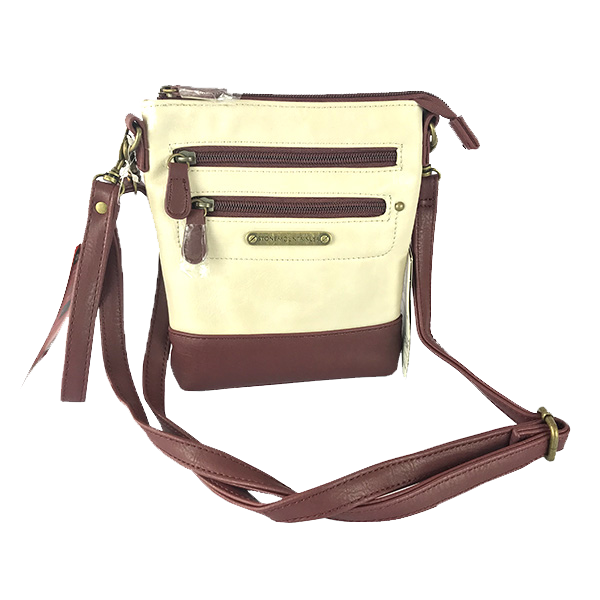 Bolsa tipo Clutch de Stone Mountain color blanco y vino