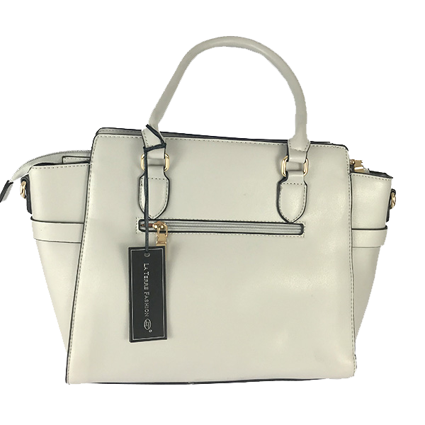 Bolsa tipo Tote La Terre Fashion color blanco